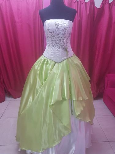 Vestido De 15 Verde Manzana Y Blanco A Estrenar