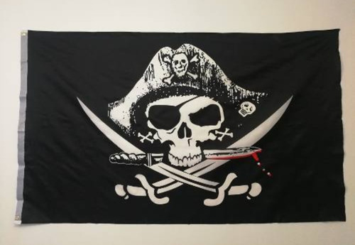Imagen 1 de 2 de Bandera Pirata De Calavera 90x60 Cms
