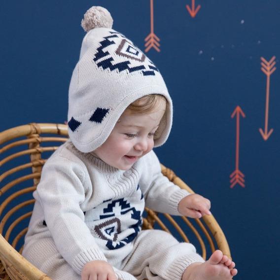 Gorro Bebé Pom-pom Tejido Punto Algodón Orgánico 0 A 6 Años