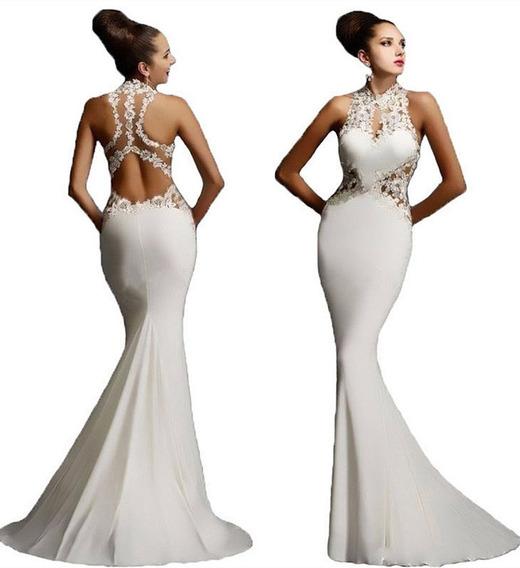 Vestido Blanco Sirena Novia Fiesta Gala Egreso - N04
