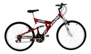 Bicicleta Full Suspension Kanguru Aro 26 Polimet - Vermelha