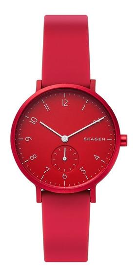 Reloj Unisex Skagen Aaren Kulor Skw2765 Color Rojo
