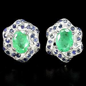 Arete Esmeralda Natural Elegante Zafiro 19k Oro 925 Ringking