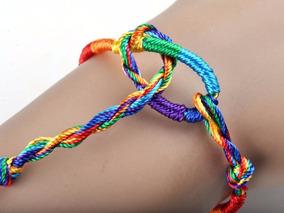 10 Pulseiras Arco Iris Feita A Mão Fluorescente