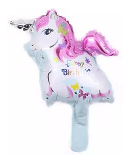 9 Globos Unicornio De Mano Souvenir Cumpleaños