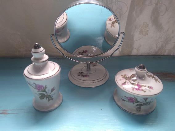 Conjunto Em Porcelana Espelho, Porta Joias E Perfumeiro 70s