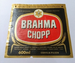 Rt001 Rótulo Cerveja Brahma 600ml 1971