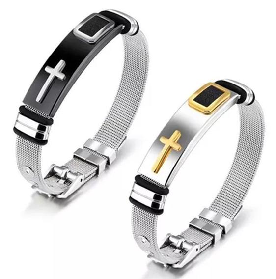 2 Pulseiras Bracelete Masculina Banhada Cruz Aço