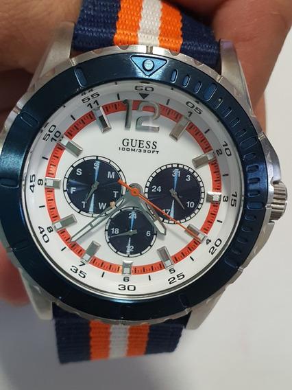 Reloj Guess. Blanco/azul/ Naranja Correa De Tela.