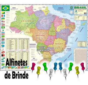 Mapa Brasil Politico Rodovia + Alfinetes - Frete R$ 10,00