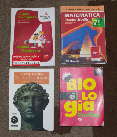 Lote Livros 4 Escolares Matematica, Historia Leia O Anuncio