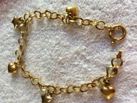 Pulseira Berloqueira De Ouro 18 K Peso 8,4g