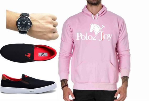 Tenis Masculino + Relógio + Moletom Rosa Chiclete Polo Joy