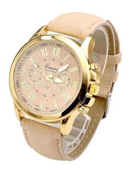 Relógio Feminino Dourado Geneva Algarismos Romanos Bege