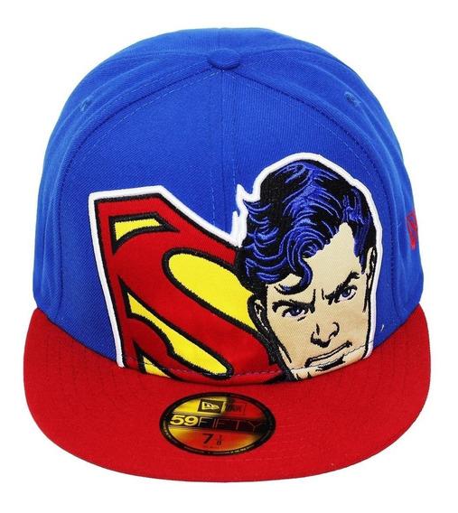 Boné New Era Superman Dc Comics Aba Reta 59 Fifty Tam 7 1/2
