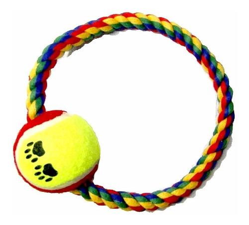 ¡ Juguete Lazo Aro Verde Negro Con Bola De Tenis Mascotas !!