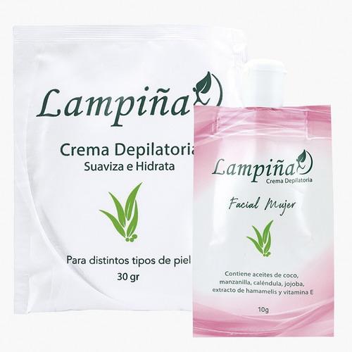 Crema Depilatoria Lampiña Combo Facial 10gr Y Corporal 30gr