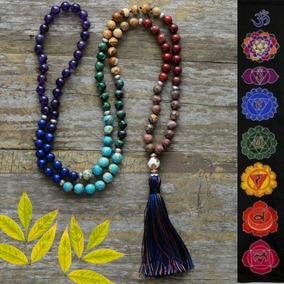 Japamala 108 Contas Pedras Naturais Yoga Budismo 7 Chakras