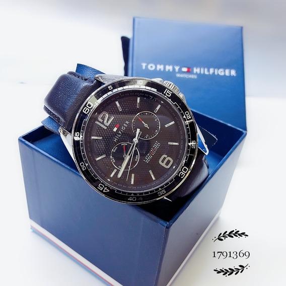 Relógio Tommy Hilfiger 1791369 Prata Aço Inox Pulseira Couro Preto