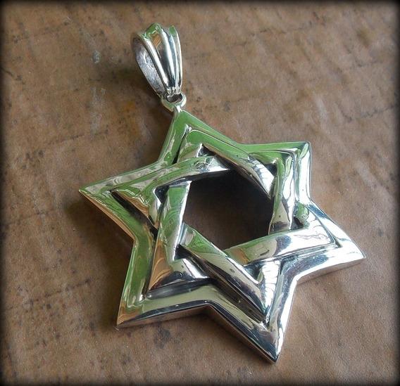 Pingente Estrela De Davi Huge David Star - Prata 30,9 Gr