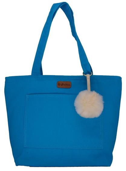 Bolsa Lulu Azul Turquesa Com Pompom - Fábio Maltez
