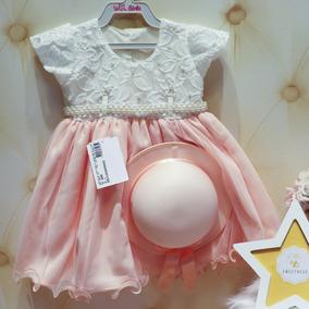 Vestido Infantil Festa Luxo Nude Chapéu Pérolas Tule 2633