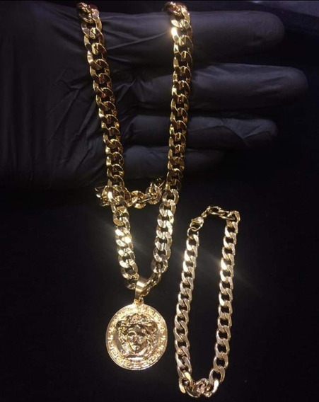 Kit Corrente Banhada A Ouro 18k +pulseira +pingente Versace