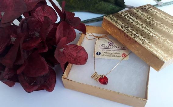 Collar Letra Con Cristal Swarovski En Chapa De Oro