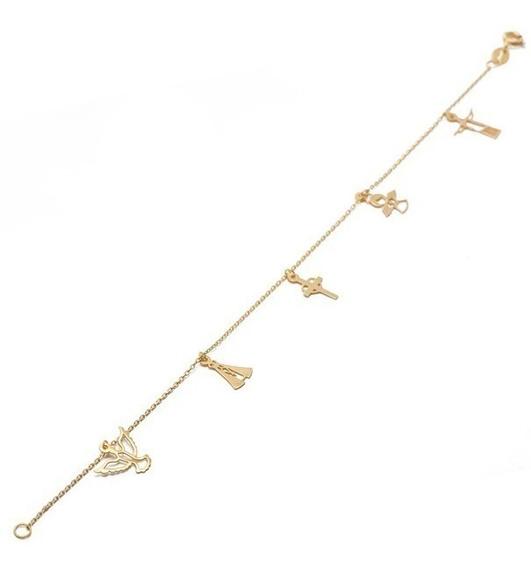 Pulseira Cartier 18cm Com 5 Berloques 100% Ouro 18k