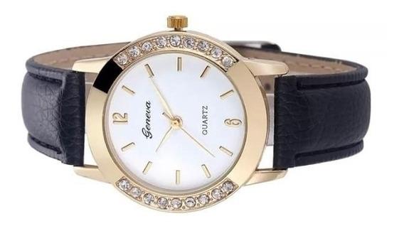 Relógio Luxo Feminino Geneva Pulseira De Couro Promoção