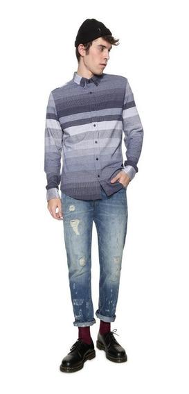 Camisa Caballero Textil Azul Desigual
