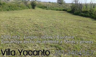 Villa Yacanto. 1200mt2 C/serv. Escritura. Arroyo Vertiente