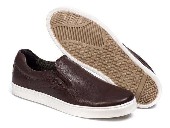 Sapato Masculino Slip On Tenis Confortavel Couro Luxo