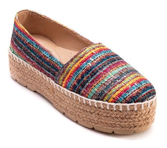 Alpargata Dama 8955 Textil Colores. Plataforma De Yute