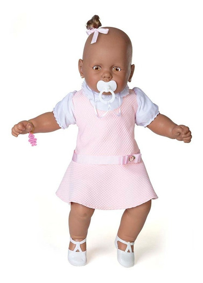 Boneca Meu Bebê Negro Vestido Rosa 60 Cm - Estrela Estrela