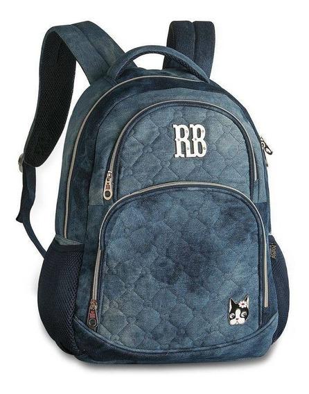Mochila Escolar Laptop Jeans Azul Rb9266 Rebecca Bonbon