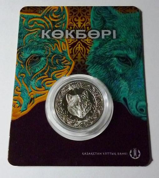 Kazajistan Blister Moneda 100 Tenge 2018 Lobo Azul Proof