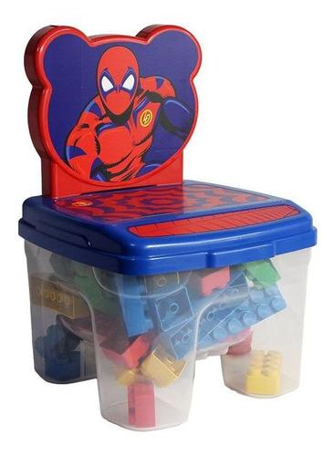 Imagem 1 de 2 de Cadeira Infantil Kids Brinquedo Com 48 Blocos Montar Aranha