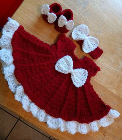 Kit Vestidinho Mamae Noel Em Croche Natal Rn A 1 Ano