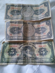 Se Subastan 2 Billetes De Un Peso Y Uno De 5 Pesos Mexicanos