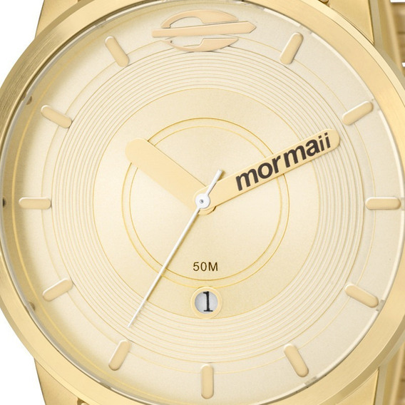 Relógio Masculino Dourado Aço Mormaii Mo2115ac/4d Original Com Estojo