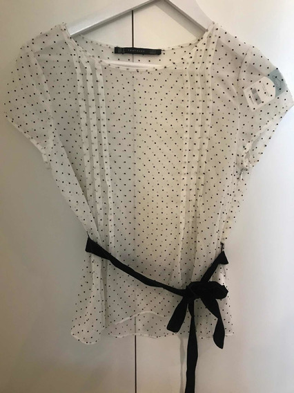 Remera De Vestir Zara Talle S Blanca Lunares Y Lazo