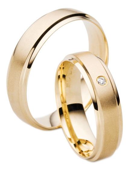 Par De Alianças Reta Com Diamante 5mm