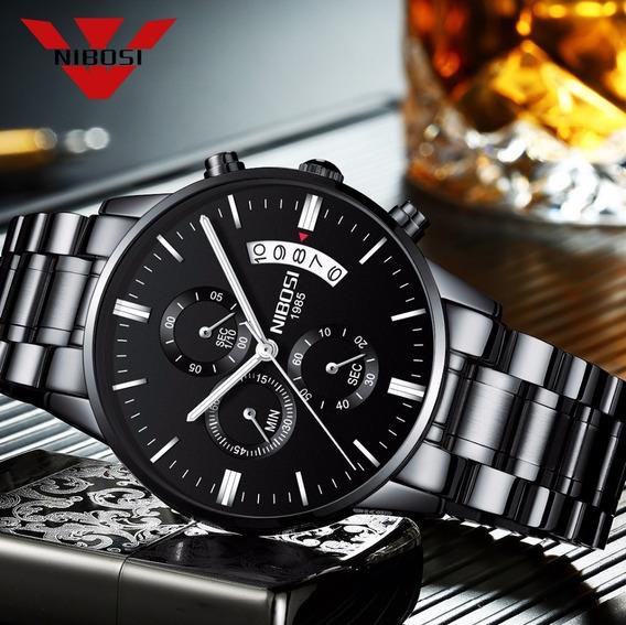 Relógio Masculino Luxuoso Nibosi - Safira