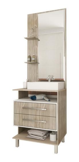 Mueble Para Baño Minimalista Con Espejo 2 Cajones Y Estantes