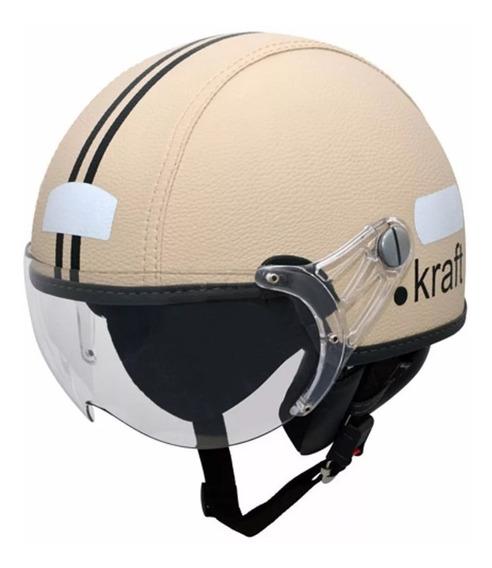 Capacete Kraft Couro Bege Scooter Drag Custom Harley