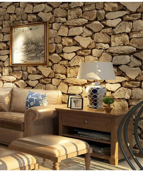 Tapiz Piedras Grandes Beige Sala Comedor Empaque 5.3 Mts2