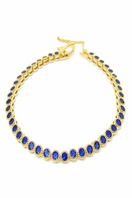 Pulseira Azul Semijoia Banhada A Ouro 18k Zircônias + Frete
