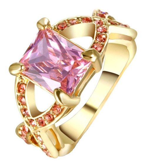Anel Banhado Ouro Feminino Formatura Pedra Rosa Contábil 249