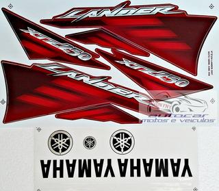Kit Jogo Faixa Adesivo Yamaha Xtz 250 Lander 2007 Vermelha
